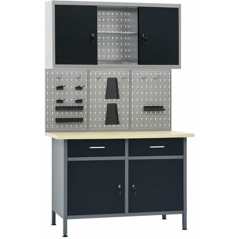 vidaXL Workbench with Three Wall Panels and One Cabinet - Black