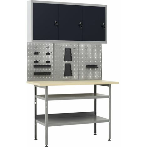 vidaXL Workbench with Three Wall Panels and One Cabinet - Grey