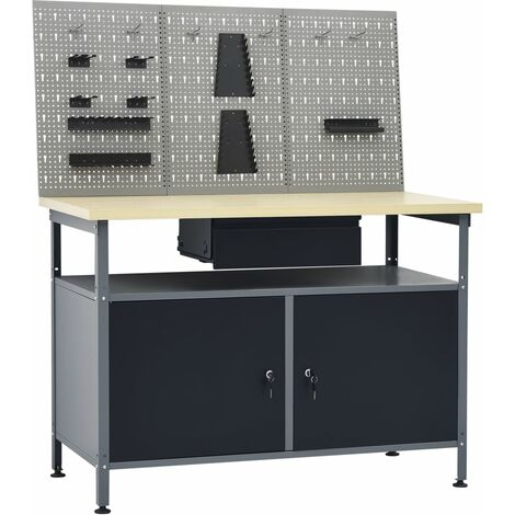 vidaXL Workbench with Three Wall Panels - Black