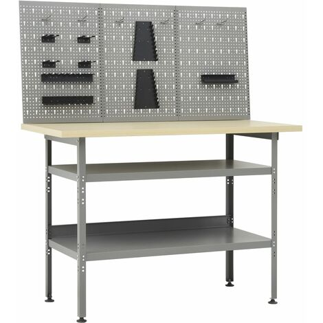 vidaXL Workbench with Three Wall Panels - Grey