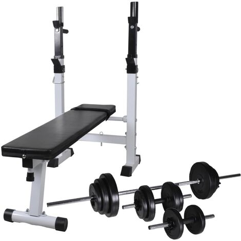 vidaXL Workout Bench with Weight Rack, Barbell and Dumbbell Set 30.5kg - Black