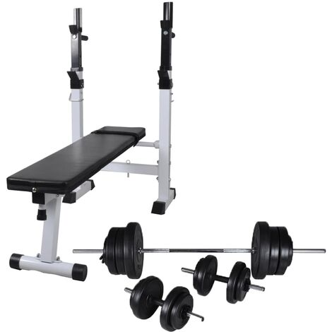 vidaXL Workout Bench with Weight Rack, Barbell and Dumbbell Set 60.5kg - Black