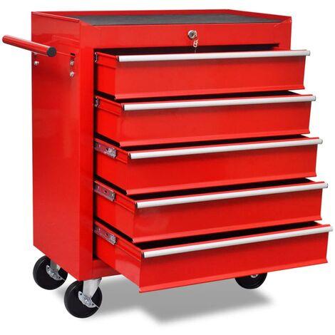 vidaXL Workshop Tool Trolley 5 Drawers Red - Red