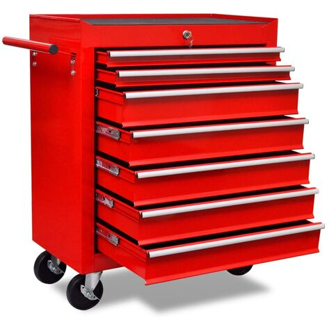 vidaXL Workshop Tool Trolley 7 Drawers Red - Red