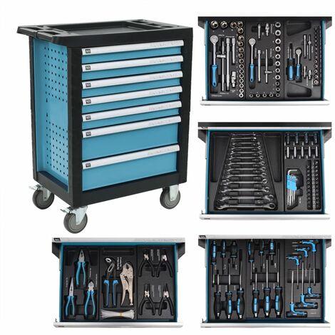 vidaXL Workshop Tool Trolley with 270 Tools Steel Blue - Blue