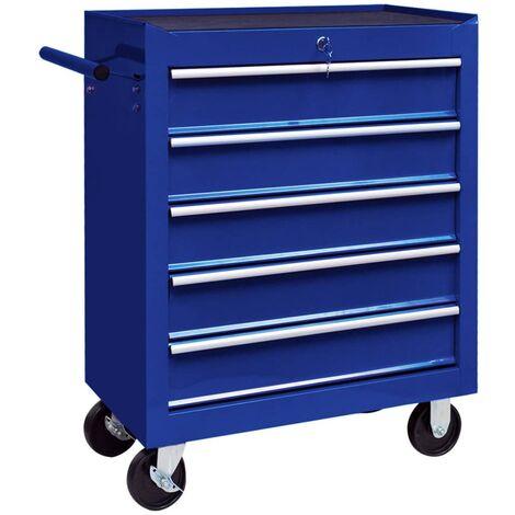 vidaXL Workshop Tool Trolley with 5 Drawers Blue - Blue