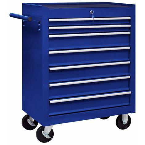 vidaXL Workshop Tool Trolley with 7 Drawers Blue - Blue