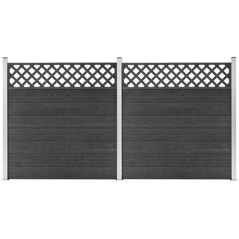 vidaXL WPC Fence Set 2 Square 353x185 Grey - Grey