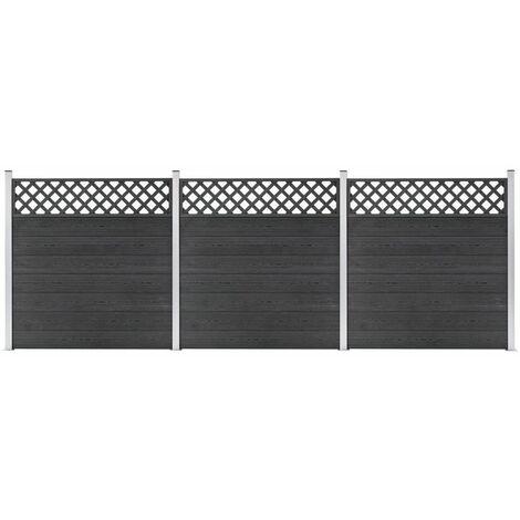 vidaXL WPC Fence Set 3 Square 526x185 Grey - Grey