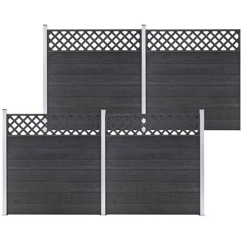 vidaXL WPC Fence Set 4 Square 699x185 Grey - Grey