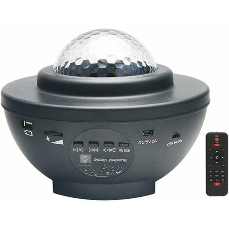 Vidéoprojecteur LED noir avec télécommande en étoile et haut parleur Bluetooth - Parfait pour les fêtes de Noël, de pâques ou d'Halloween (noir)