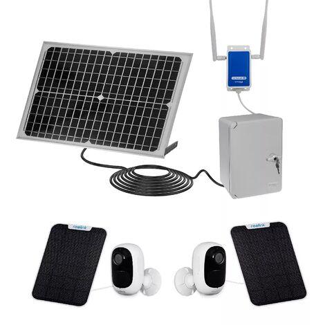 Vidéosurveillance des lieux isolés 100% autonome solaire sans-fil UltraCAM™ 4G - 2 caméras - Notifie / enregistre / FHD