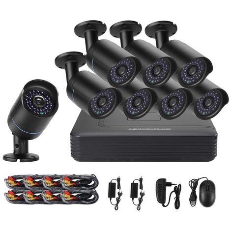 Vidéosurveillance noir Bullet IP Caméras Mini Kit AHD DVR, Support Vision Nocturne / Détection de Mouvement, Distance IR: 20m
