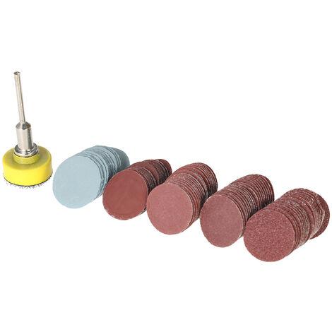 """vidrio de papel conjunto de 25 mm de 100 piezas de arena + disco de trituracion blister eje 1 1/8 """"conjunto de lijado pulido papel de lija"""