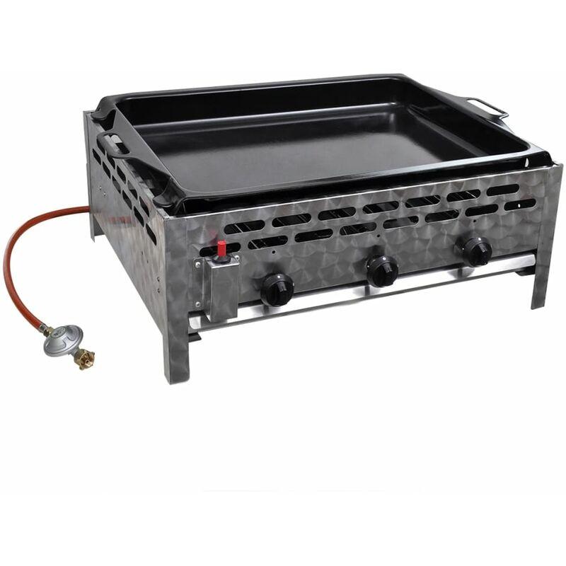 Turbo vidXL Gastro-Gasgrill 3 Brenner Edelstahl BBQ Bräter mit Bratblech - XF72