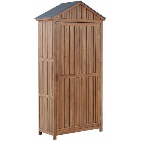 Vielseitiger Gartenschrank mit Stahldach Akazenholz 4 Fächer Savoca
