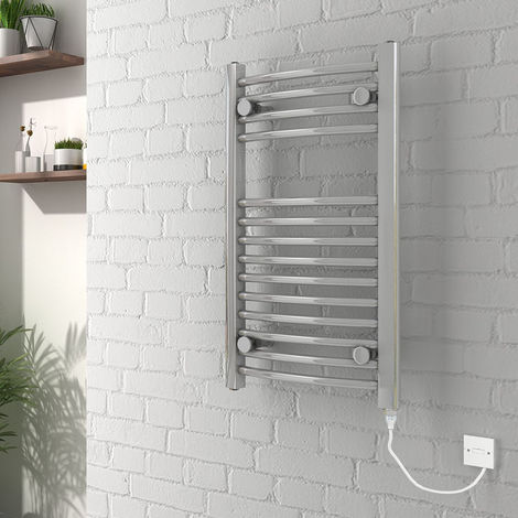 Vienna 700 x 400mm Curved Chrome Electric Heated Towel Rail - please select - please select