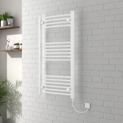 Vienna 1000 x 500mm Curved White Electric Heated Towel Rail - please select - please select