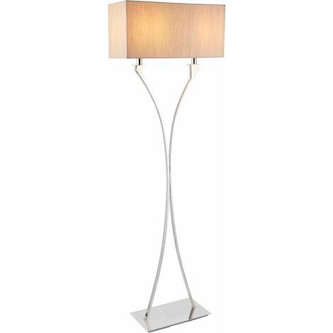 "main image of ""Vienna floor lamp, nickel, beige lampshade"""