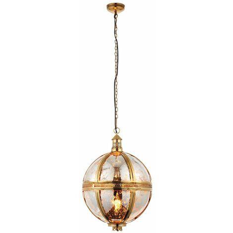 Vienna pendant light, brass and mercury glass, 41 cm