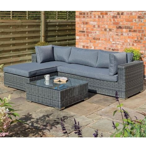Vienna Rattan L Shape Sofa Lounger Set