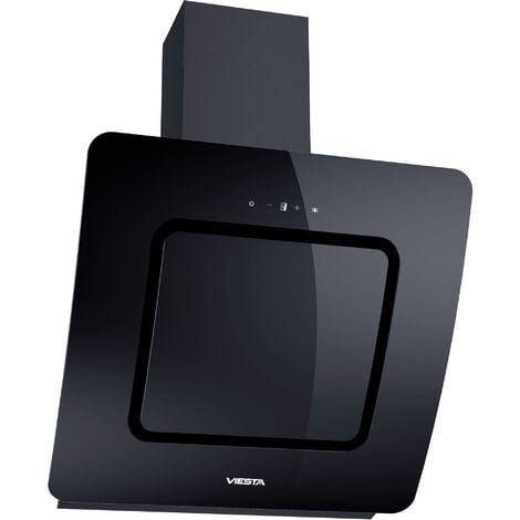 Viesta DH600D Campana de cocina 60cm incluido filtro de carbono activo - Campana extractora / Sensor de control táctil, iluminación LED, hecho de acero y cristal negro