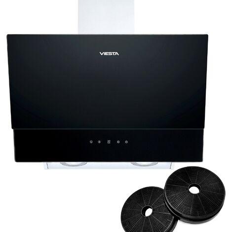 VIESTA DH600XC Campana de cocina 60cm incluido filtro de carbono activo - Campana extractora 320W / Sensor de control táctil, iluminación LED, hecho de acero y cristal negro