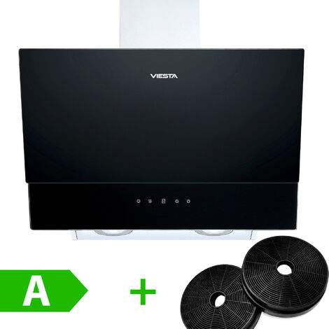 VIESTA DH600XC hotte de cuisson / hotte aspirante tête libre 60cm 320W avec commande de capteur de contrôle tactile et LED en verre noir et acier inoxydable