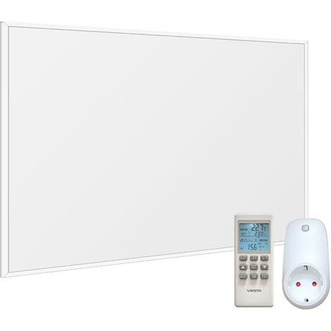 VIESTA F300 panneau de chauffage infrarouge Crystal Carbon (dernière technologie) chauffage mural blanc - 300 watts + VIESTA TH15 Thermostat