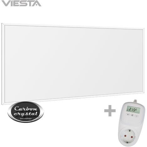 Viesta F450 Panel Radiador de infrarrojos Carbon Crystal (última tecnología) Calefacción ultradelgado Blanco de 450W + Viesta Termostato TH10
