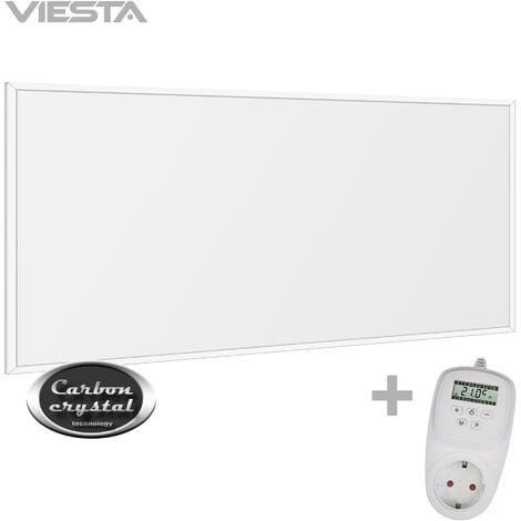 Viesta F450 Panel Radiador de infrarrojos Carbon Crystal (última tecnología) Calefacción ultradelgado Blanco de 450W + Viesta Termostato TH12