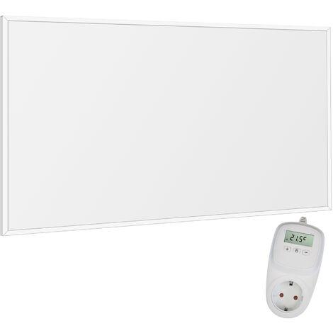 VIESTA F600 Heizpaneel infrarot Infrarotheizung Wandheizung elektrisch, ultraflache Heizplatte, Carbon Crystal, 600W, Weiß + Thermostat TH10