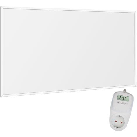Viesta F600 panneau de chauffage infrarouge Crystal Carbon (dernière technologie) panneau radiateur ultra mince chauffage mural blanc - 600 watts + Viesta TH10 Thermostat