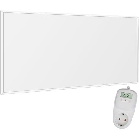 Viesta F700 Infrarotheizung Carbon Crystal (neueste Technologie) Heizpaneel Heizkörper Heizung heating panel ultraflache Wandheizung Weiß - 700 Watt + Viesta TH10 Thermostat