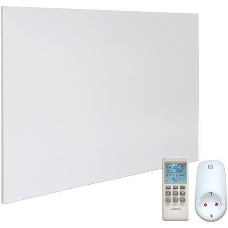 VIESTA H1200 Panel Radiador de infrarrojos Carbon Crystal (última tecnología) Calefacción ultradelgado Blanco de 1200W + VIESTA Termostato TH15