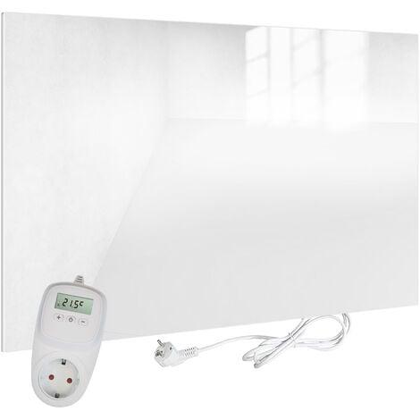 VIESTA H450-GW Chauffage infrarouge 450 watts, panneau chauffant en verre blanc avec thermostat VIESTA TH10