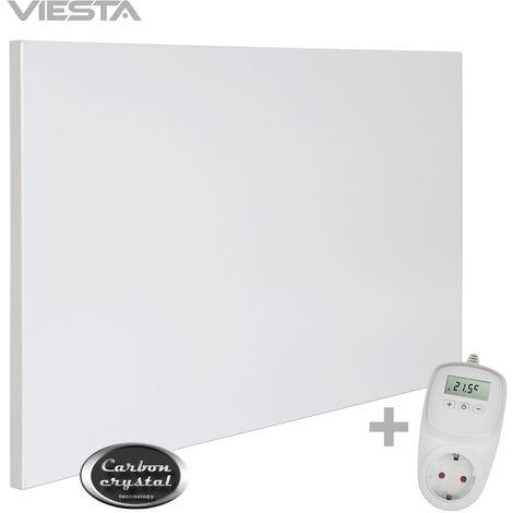 Viesta H500 Panel Radiador de infrarrojos Carbon Crystal (última tecnología) Calefacción ultradelgado Blanco de 500W + Viesta Termostato TH10
