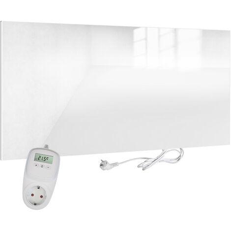 VIESTA H580-GW Infrarotheizung Glas 580 Watt, weiß + VIESTA TH10 Thermostat