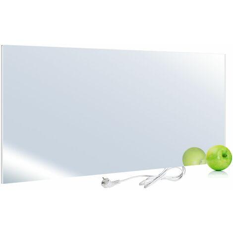 Viesta H580-SP Chauffage infrarouge 580 watts, panneau chauffant en miroir avec la technologie des cristaux de carbone - chauffage plat en verre de sécurité et protection contre la surchauffe
