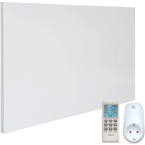 VIESTA H600 Panel Radiador de infrarrojos Carbon Crystal (última tecnología) Calefacción ultradelgado Blanco de 600W + VIESTA Termostato TH15