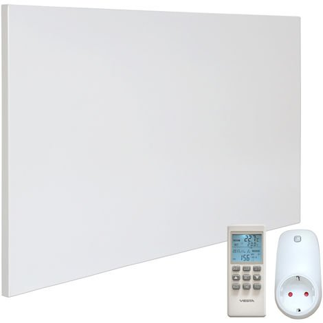 VIESTA H600 panneau de chauffage infrarouge Crystal Carbon (dernière technologie) chauffage mural blanc - 600 watts + VIESTA TH15 Thermostat