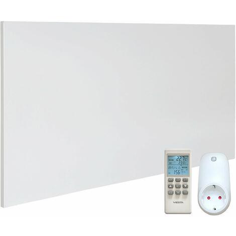 VIESTA H700 Panel Radiador de infrarrojos Carbon Crystal (última tecnología) Calefacción ultradelgado Blanco de 700W + VIESTA Termostato TH15