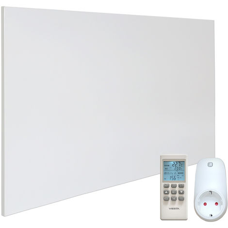 VIESTA H900 Panel Radiador de infrarrojos Carbon Crystal (última tecnología) Calefacción ultradelgado Blanco de 900W + VIESTA Termostato TH15