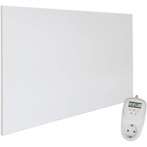 Viesta H900 panneau de chauffage infrarouge Crystal Carbon (dernière technologie) panneau radiateur ultra mince chauffage mural blanc - 900 watts + Viesta TH12 Thermostat