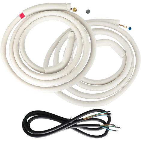 """VIESTA set di montaggio 2x 5m tubo di rame refrigerante 1/4""""+ 3/8"""" + 5,8m tubo di gomma elettrico per condizionatori d'aria split VIESTA condizionatori d'aria inverter"""