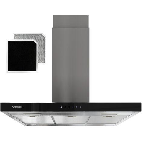 VIESTA VDI90230EG Hotte aspirante pour îlot - Hotte aspirante 90cm inox - Elégante avec touchpad et éclairage LED - Hotte îlot comme hotte aspirante et de recirculation - classe énergétique A