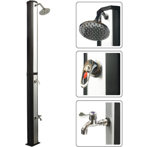 VIESTA VSD35FS douche solaire - noir et argent - avec réservoir d'eau résistant aux UV de 35 litres - avec lave-pieds et pomme de douche de pluie réglable