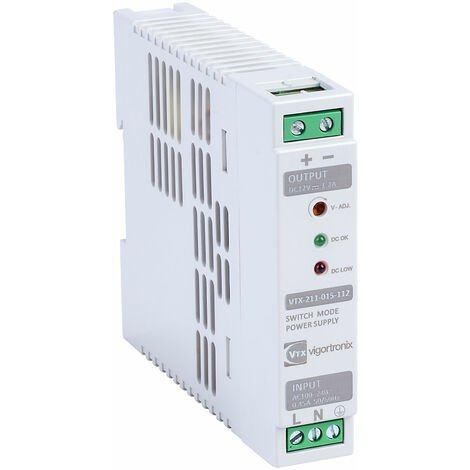Vigortronix VTX-211-015-112 15W DIN Rail Power Supply 90-264V AC - 12V DC