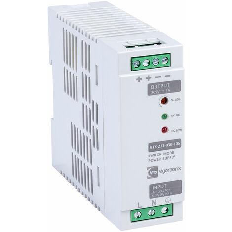 Vigortronix VTX-211-030-105 30W DIN Rail Power Supply (AC-DC) 90-264V AC - 5V DC