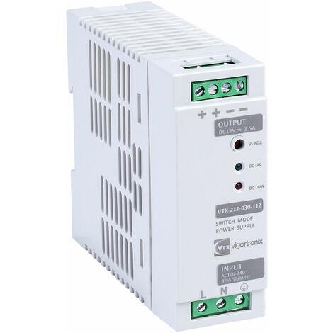 "main image of ""Vigortronix VTX-211-030-112 30W DIN Rail Power Supply 90-264V AC - 12V DC"""